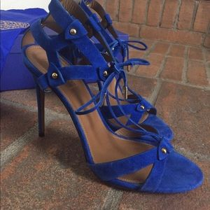 Aquazzura Blue Bel Air Cage Sandals New With Tags